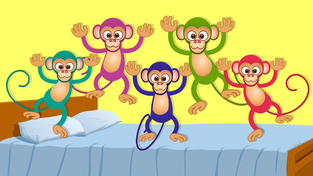 Little monkeys kids songs. Five monkey jumping on the bed clipart