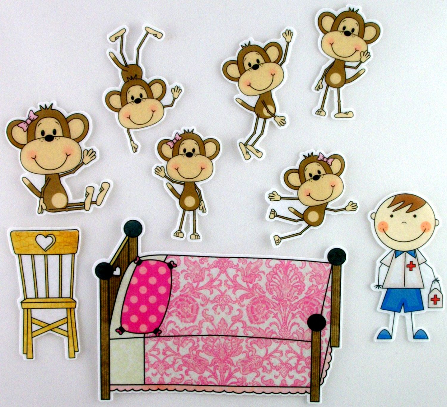 Five monkey jumping on the bed clipart. Little monkeys printables