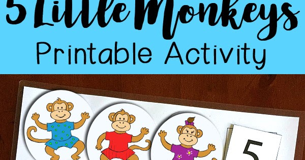 Five monkey jumping on the bed clipart. Little monkeys printable activity