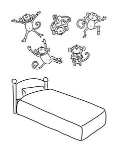 little monkeys template. Five monkey jumping on the bed clipart