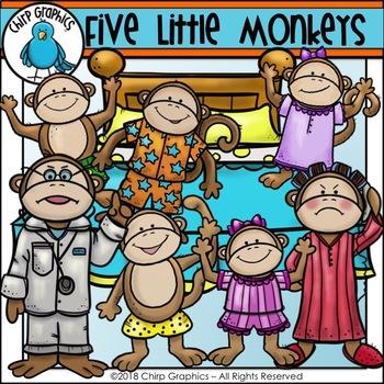 Little monkeys clip art. Five monkey jumping on the bed clipart