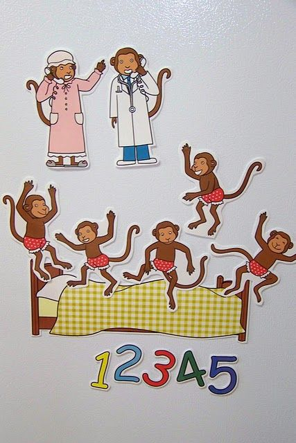 Five monkey jumping on the bed clipart. Turn classic book into