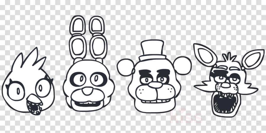 Five nights at freddy clipart black and white vector library stock Face Cartoon clipart - White, Clothing, Face, transparent clip art vector library stock
