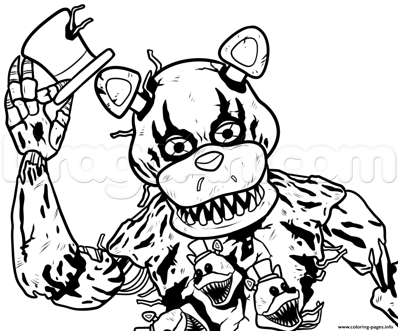 Five nights at freddy clipart black and white picture royalty free library Print draw nightmare freddy fazbear five nights at freddys fnaf ... picture royalty free library