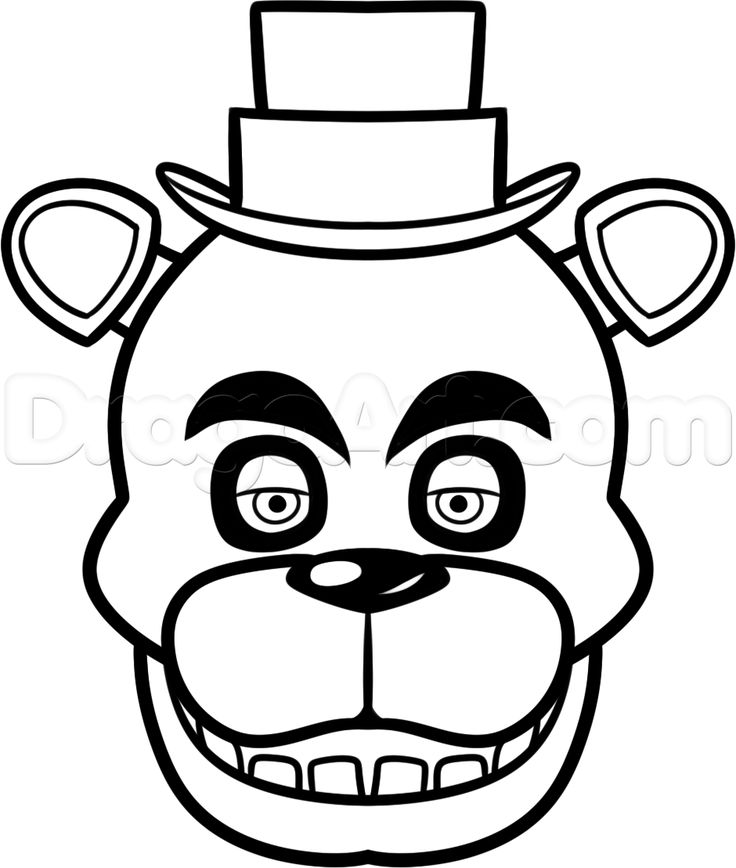 Five nights at freddy clipart black and white clip black and white stock how to draw freddy fazbear easy step 7 | Crafts | Freddy fazbear ... clip black and white stock