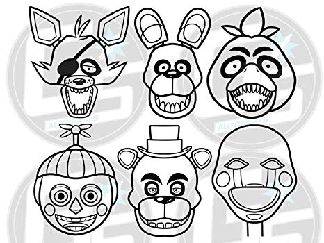 Five nights at freddy clipart black and white banner library download 6 FIVE NIGHTS AT FREDDYS White Vinyl Decal Freddy Fazbear Bonnie Chica Foxy  FNAF banner library download