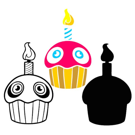 Five nights at freddy s chica s cupcake clipart clip art download Five nights at Freddys FNAF Cupcake Characters Layered SVG DXF ... clip art download