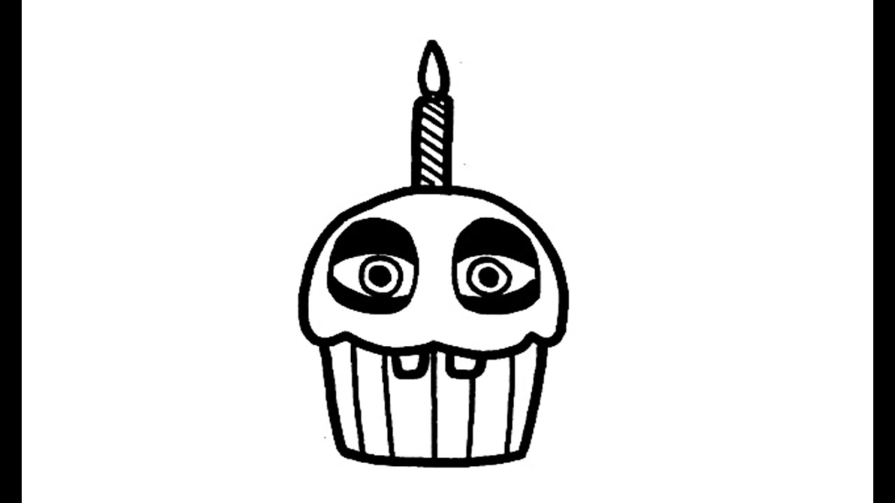 Five nights at freddy s chica s cupcake clipart clipart black and white download Como desenhar o Cupcake de Five Nights at Freddy\'s (FNAF) - How to Draw  Cupcake from FNAF clipart black and white download