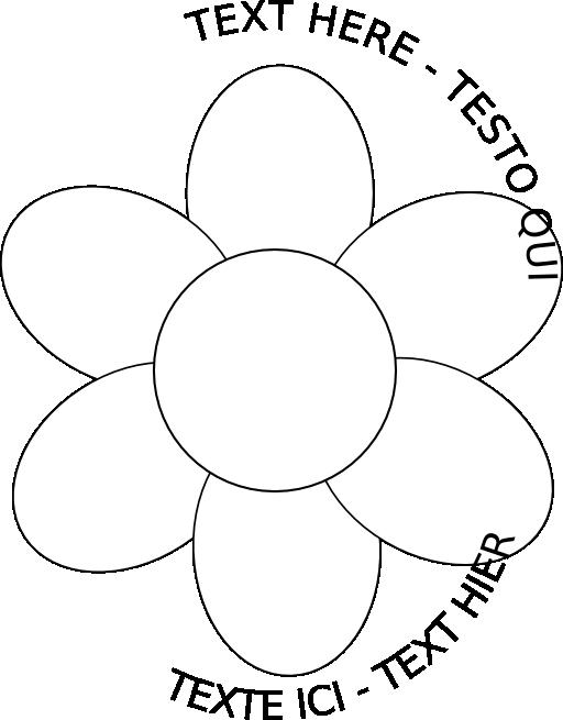 Five petal flower clipart. Six petals black outline