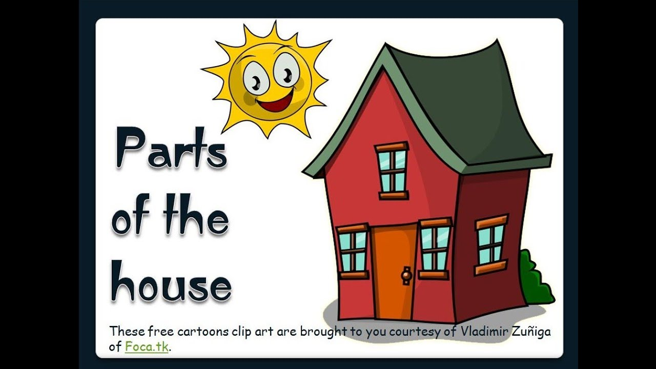 Five pieces make house cliparts jpg stock Parts of the House -English Language jpg stock