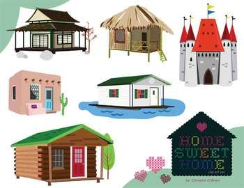 Five pieces make house cliparts clip freeuse stock Home Sweet Home / Homes Around the World Clip Art Set | TpT Clipart ... clip freeuse stock