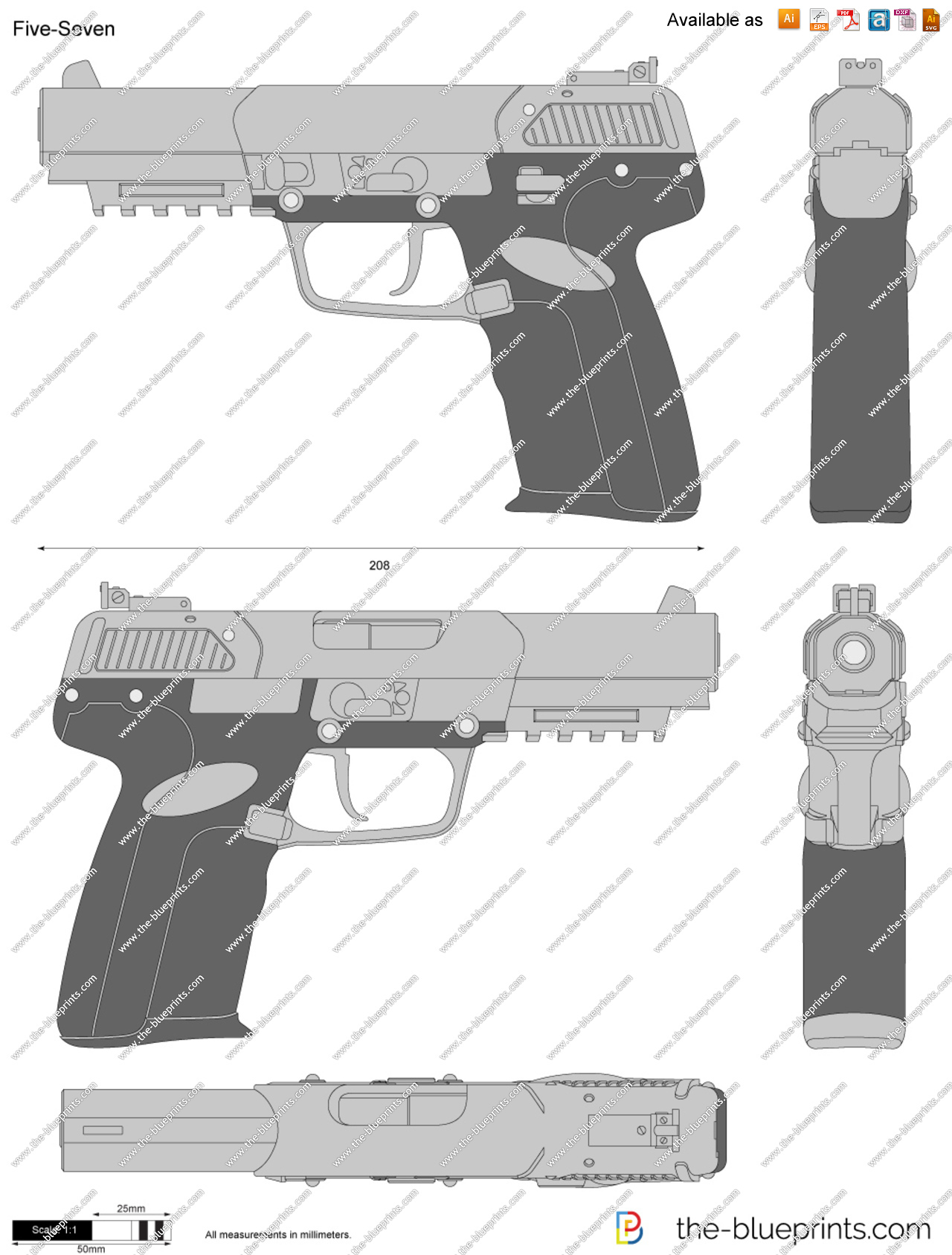 Five seven clipart image black and white Five-Seven vector drawing image black and white