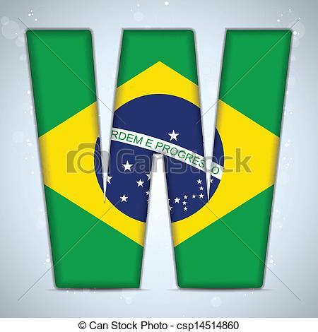 Flag alphabet letters clipart graphic transparent Clip Art Vector of Brazil Flag Brazilian Alphabet Letters Words ... graphic transparent