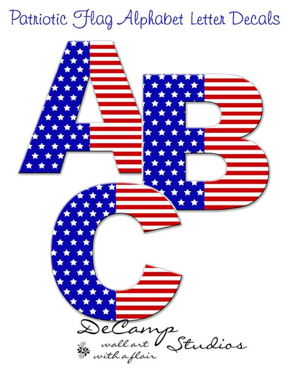 Flag alphabet letters clipart clip freeuse American Flag Alphabet Letter wall art decals. Patriotic 4th of ... clip freeuse