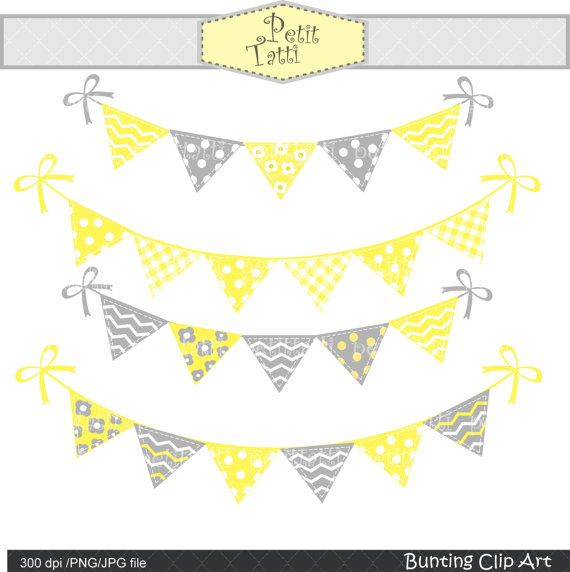 Flag banner yellow and gray png clipart. Bunting clip art grey