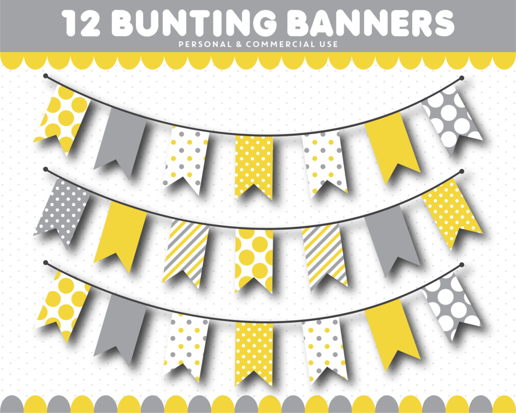 Flag banner yellow and gray png clipart clipart black and white stock Yellow and grey bunting clipart, CL-1544 | moodboard | Bunting ... clipart black and white stock