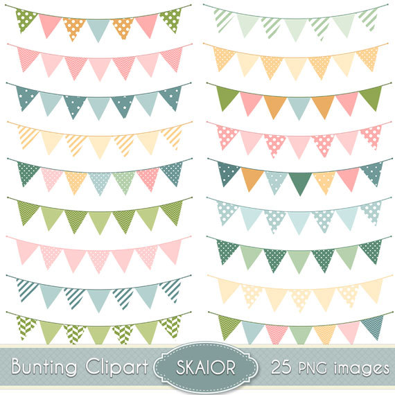 Flag garland clipart jpg free library Bunting Flags Clipart Bunting Clip Art Garland Clipart Polkadot ... jpg free library