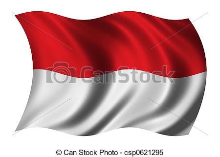 Flag of indonesia clipart vector freeuse library Stock Illustrations of Flag of Indonesia waving in the wind ... vector freeuse library