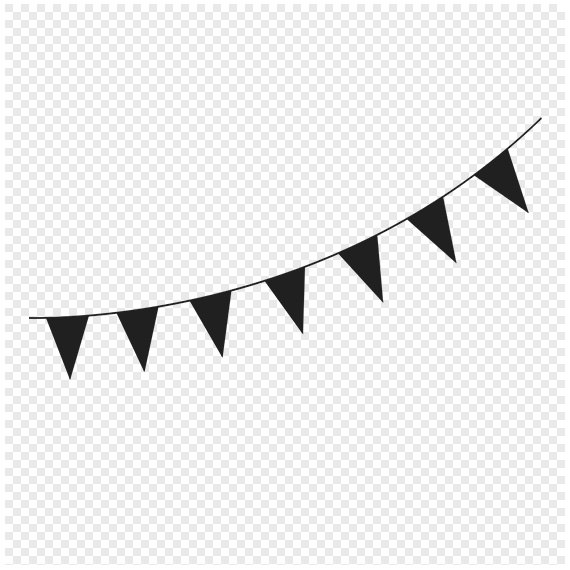 Flag pennant banner black and white clipart. Free clip art images