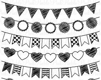 Flag pennant banner black and white clipart picture transparent stock White Clipart Pennant Banner – Pencil And In Color White Clipart ... picture transparent stock