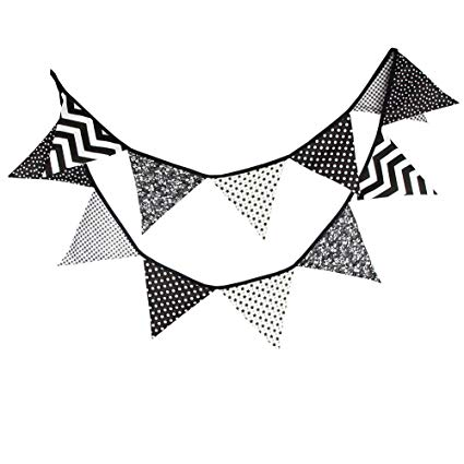 Flag pennant banner black and white clipart. Yiuswoy feet triangle cotton