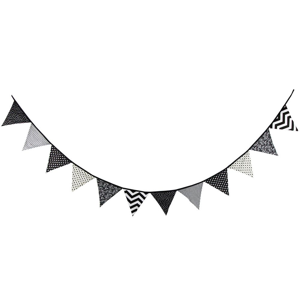 Flag pennant banner black and white clipart.  flags cotton cloth