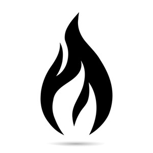 Flame clipart black and white simple graphic download Fire flame icon. Black icon isolated on white background. Fire flame ... graphic download