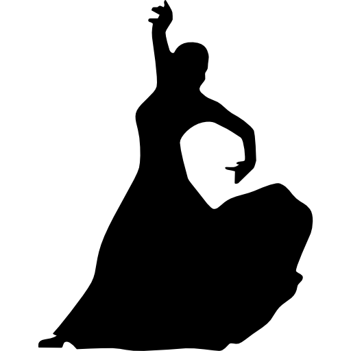 Flamenco dance clipart in black and white jpg freeuse download Female flamenco dancer silhouette Icons | Free Download jpg freeuse download