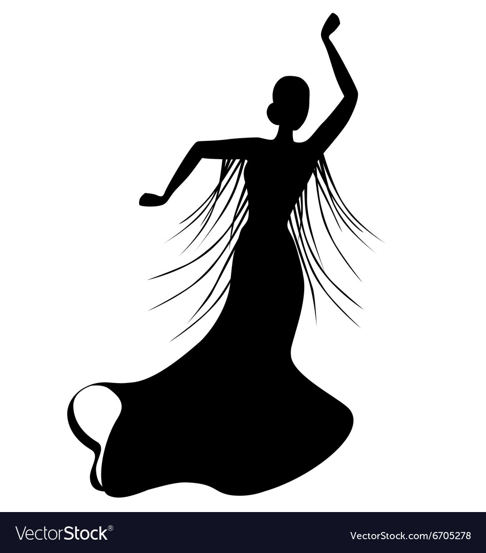 Flamenco dance clipart in black and white picture black and white Black silhouette of female flamenco dancer picture black and white