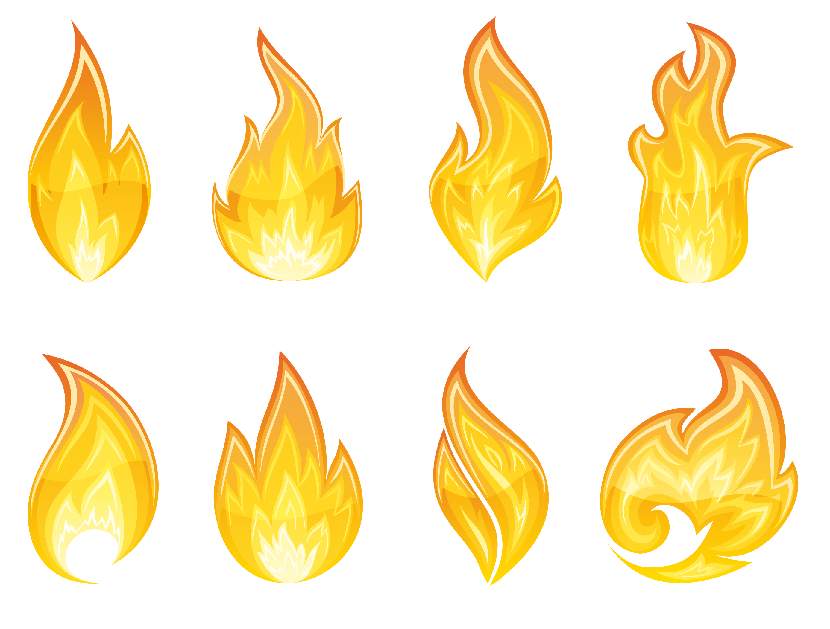 Yellow flames clipart png vector freeuse stock Transparent Flame Set PNG Clipart | Gallery Yopriceville - High ... vector freeuse stock