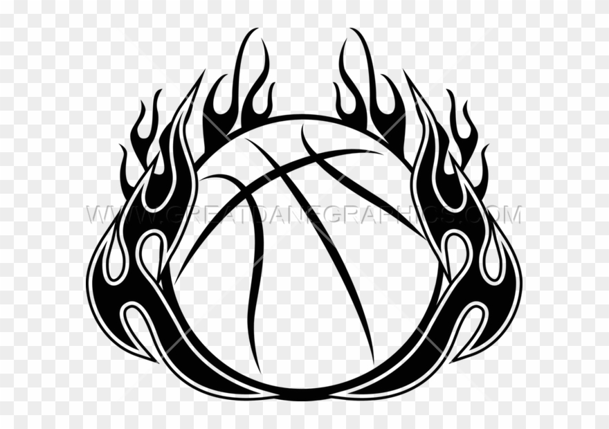 Flames in a circle patterns clipart black and white free png library library Download Free png Basketball With Flames Clipart Basketball Ball ... png library library