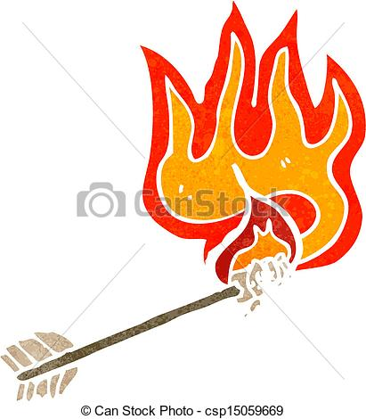 Flaming arrow clipart free stock Clip Art Vector of flaming arrow retro cartoon csp15059669 ... stock