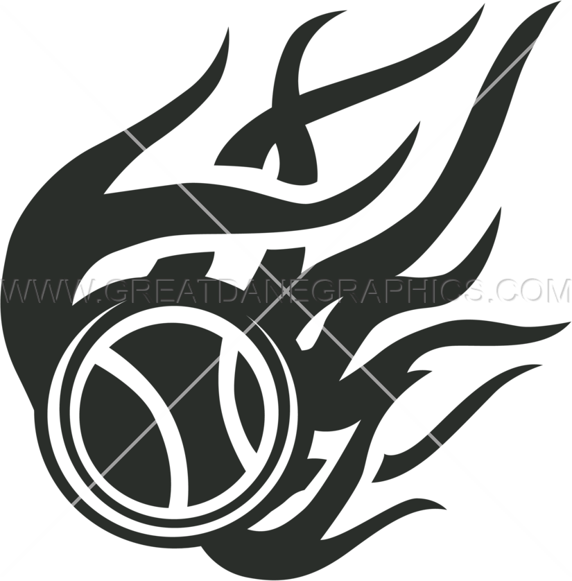 Flaming baseball clipart black and white graphic black and white Tribal Flaming Baseball | Production Ready Artwork for T-Shirt Printing graphic black and white