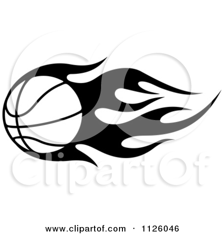 Flaming basketball clipart banner library download Clipart Of A Black And White Tribal Flaming Basketball 4 - Royalty ... banner library download