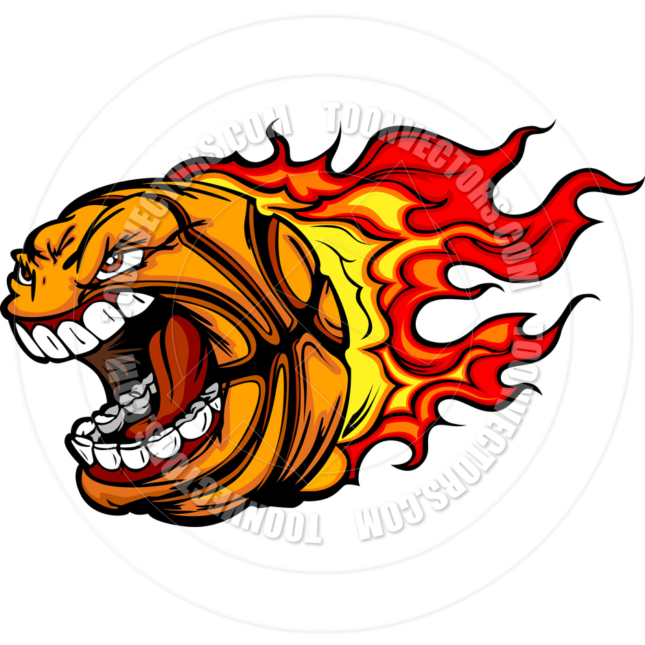 Flaming basketball clipart image free download Basketball Flames Cartoon Vector Clipart Image by Chromaco | Toon ... image free download