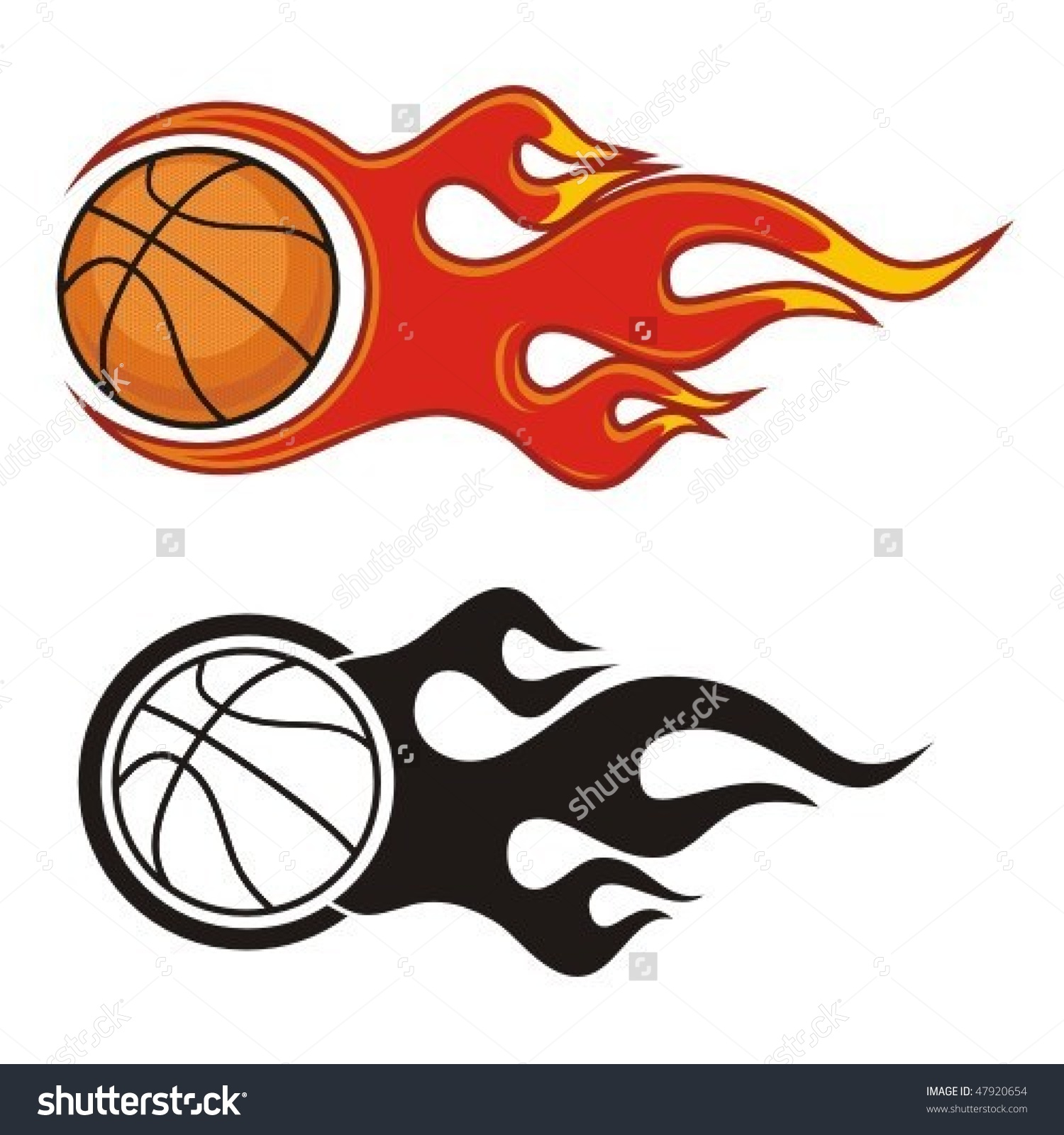 Flaming basketball clipart royalty free download Flaming Basketball Ball Vector Illustration Stock Vector 47920654 ... royalty free download