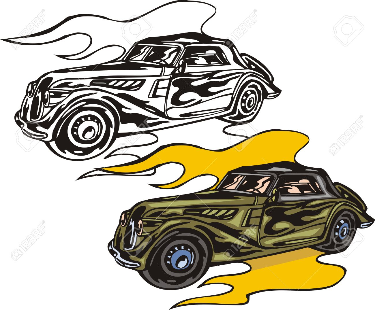 Flaming car clipart png black and white stock The Green Car On Yellow Fire. Flaming Hotrods. Illustration ... png black and white stock