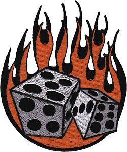 "Flaming dice clipart 3 graphic library Novelty Iron On Patch - 3.75"" Tattoo Art Flaming Flames Dice ... graphic library"