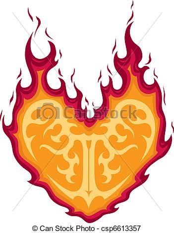 Flaming heart clipart