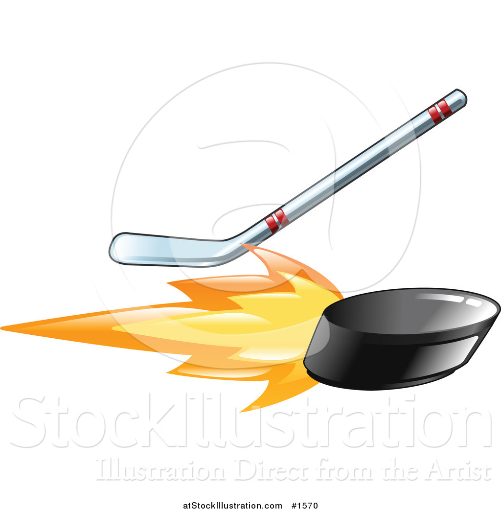 Flaming hockey puck clipart jpg black and white download Vector Illustration of a Hockey Stick Hitting a Flaming Hockey ... jpg black and white download