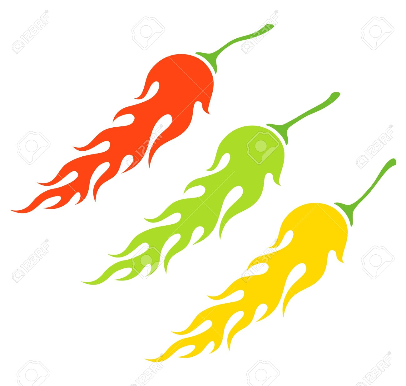 Flaming jalapeno clipart black and white stock Illustration Of The Three Kinds Of Peppers In The Form Of A Flame ... black and white stock