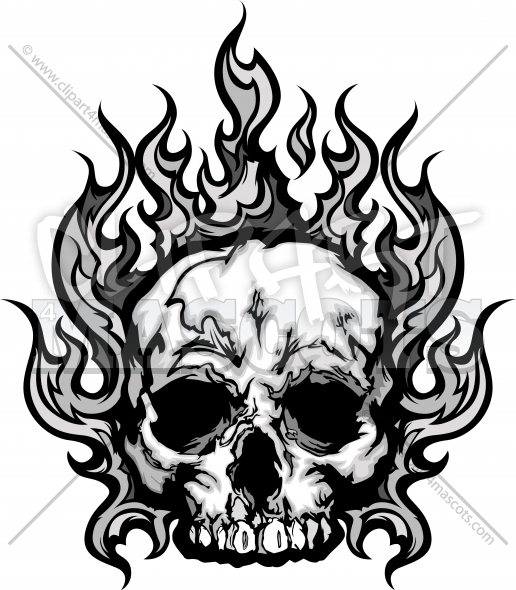 Flaming skull clip art library Flaming Skull Tattoo Graphic Vector Halloween Clipart Image library