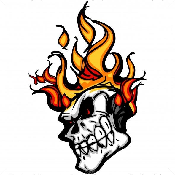 Flaming skull clip art jpg transparent stock Flaming Skull Cartoon - Vector Clipart Flaming Skull jpg transparent stock