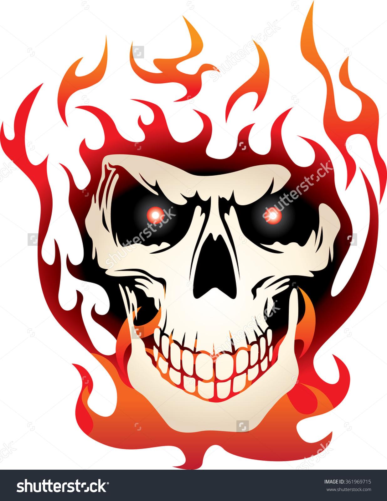 Flaming skull clip art svg royalty free download Flaming Skull Stock Vector 361969715 - Shutterstock svg royalty free download