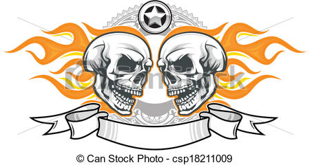 Flaming skull clip art banner free stock Vector Clipart of skulls with flame - double flaming skulls with ... banner free stock