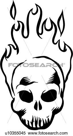Flaming skull clip art vector black and white download Clipart of , flaming, skull, cartoons, u10355045 - Search Clip Art ... vector black and white download