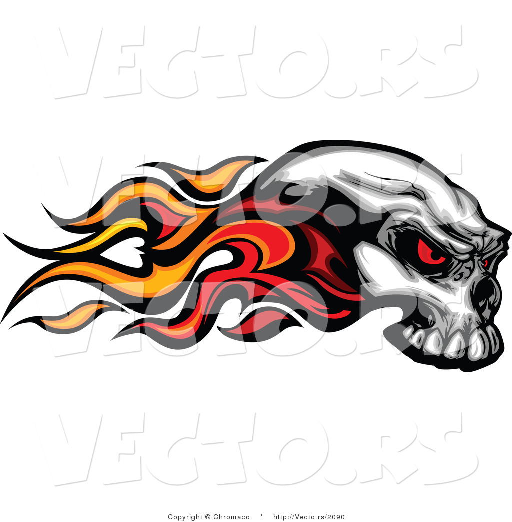 Flaming skull clipart vector freeuse library Vector of a Flaming Skull with Demonic Red Eyes by Chromaco - #2090 vector freeuse library