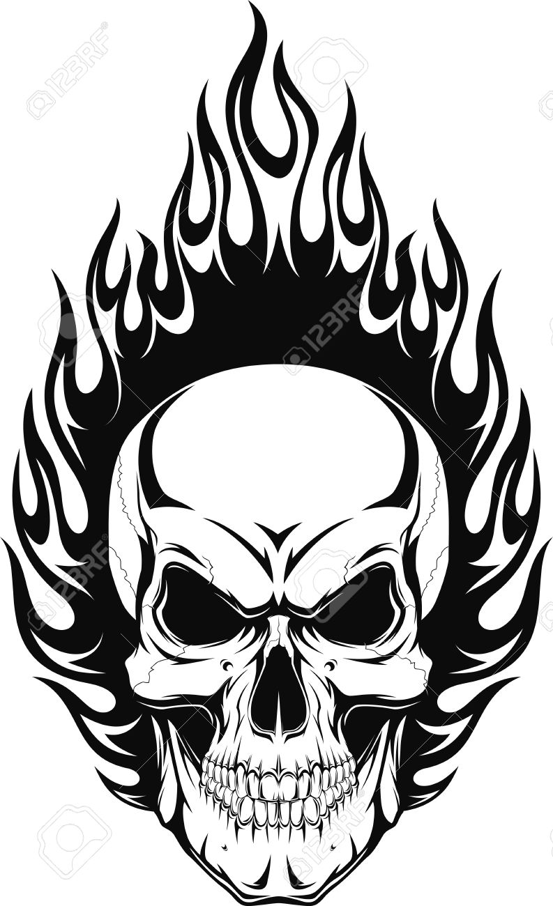 Flaming skull clipart free library 16,835 Evil Skull Stock Vector Illustration And Royalty Free Evil ... free library