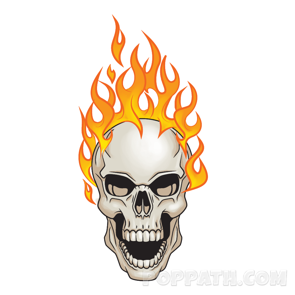Flaming skull clipart clipart black and white download How To Draw A Flaming Skull – Pop Path clipart black and white download