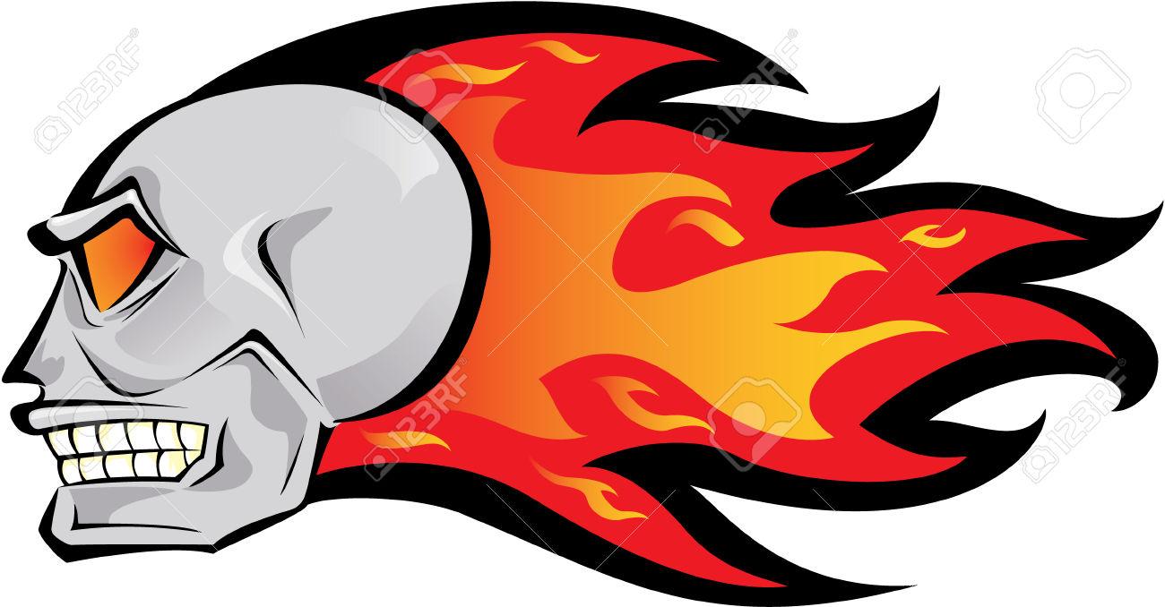 Flaming skull clipart stock Flaming Skull Royalty Free Cliparts, Vectors, And Stock ... stock